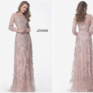 NWT JOVANI PINK BLUSH EMBELLISHED SHINE MOTHER OF THE BRIDE GOWN SIZE 8